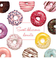 Hand drawn tasty donuts vector