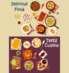 Mediterranean and asian cuisine icon set design vector