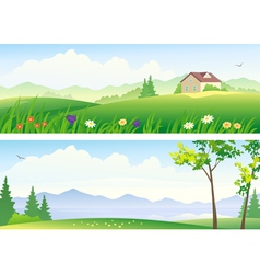 Summer landscape banners vector image