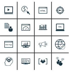 Set of 16 seo icons includes connectivity vector