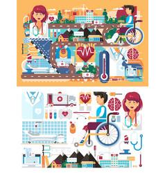 Big set design medicine health vector