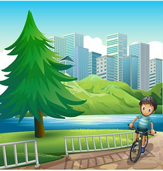 A boy biking across the tall buildings near the vector