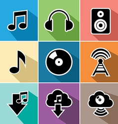 Music flat icons set vector