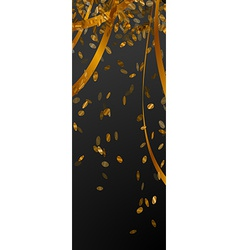 falling gold confetti on black stripe vector image