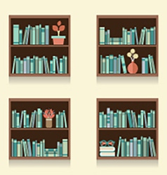 Set of wooden bookshelves on wall vector