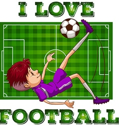 Boy in sportswear playing football vector