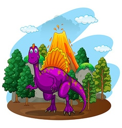 Purple dinosaur with volcano behind vector