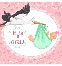 Baby greetings card with stork and girl eps10 vector