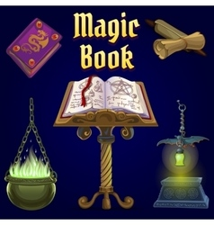 Open magic book and set of fairy tale elements vector