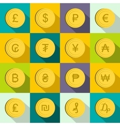 Currency gold coin icons set flat style vector