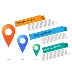 - Set of round 3D map pointers vector image