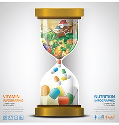 Vitamin and nutrition food with sandglass vector