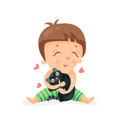 Adorable cartoon toddler baby hugging a black vector