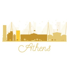 Athens city skyline golden silhouette vector
