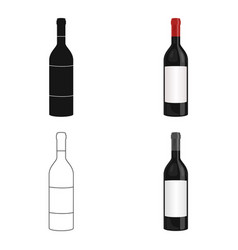 Bottle of red wine icon in cartoon style isolated vector