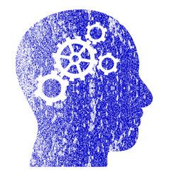 Brain gears grunge textured icon vector