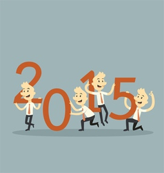 businessman teamwork holding 2015 vector image