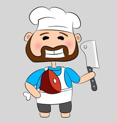 Butcher with knife and meat vector