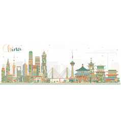 China city skyline famous landmarks in china vector