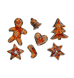 colored hand sketch of christmas cookies vector image vector image