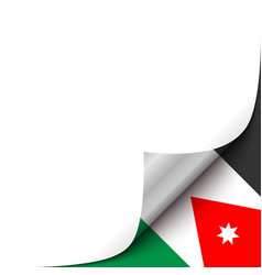 Curled up paper corner on jordan flag background vector