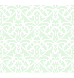 Elaborate white vintage seamless pattern on green vector