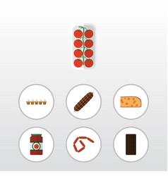 Flat icon meal set of bratwurst eggshell box vector
