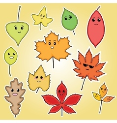 Funny autumn leaves for kids vector