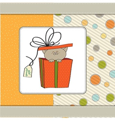 Funny birthday card with little cat vector