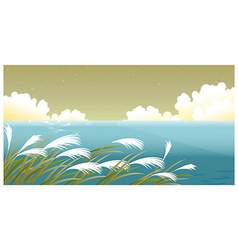Grass blades against sky vector image