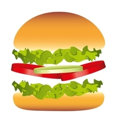 hamburger delicious fast food isolated vector image
