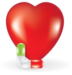 Heart and two pills vector image