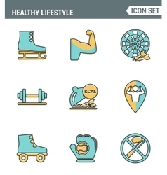 Icons line set premium quality of healthy vector image vector image