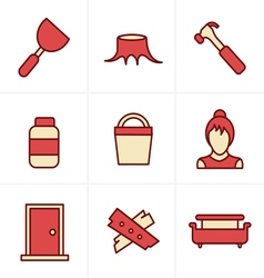 Icons style icons set carpentry vector