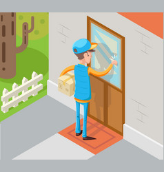 isometric express courier special delivery boy man vector image