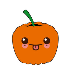Kawaii ripe pumpkin harvest vegetable food garden vector