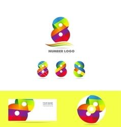 Number 8 eight logo icon set business corporate vector