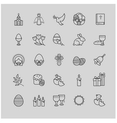 Outline icons set - easter symbols spring vector