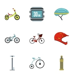 Race cycling icons set flat style vector