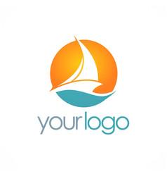 Ship sail boat logo vector