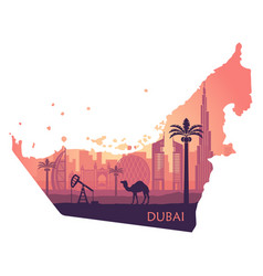 Skyline of dubai with camel in the form of a map vector