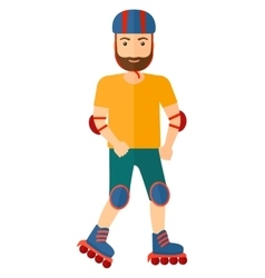 Sporty man on rollerblades vector