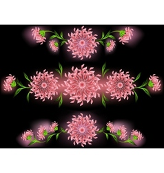The pattern of pink flowers and leaves on a black vector image