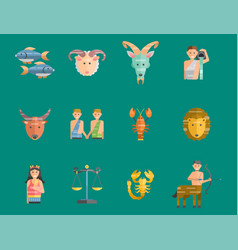 Zodiac signs flat set of horoscope symbols star vector