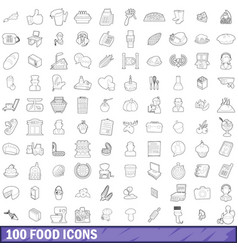 100 food icons set outline style vector