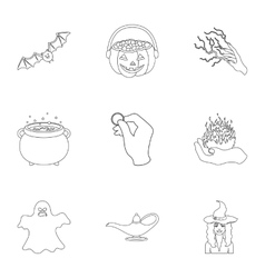 Black and white magic set icons in outline style vector image