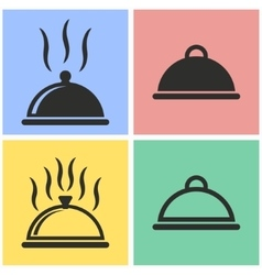 Food cover icon set vector