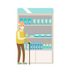 Old man in pharmacy choosing and buying drugs and vector