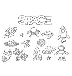 Space elements hand drawn set vector