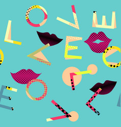 Abstract seamless pattern letters love on vector